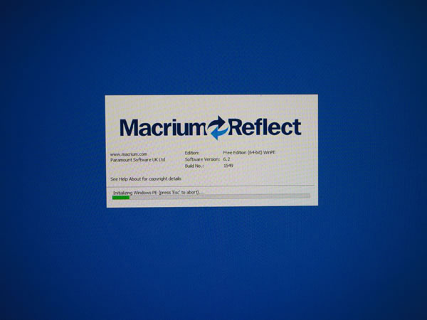 Macrium Reflect Free 起動