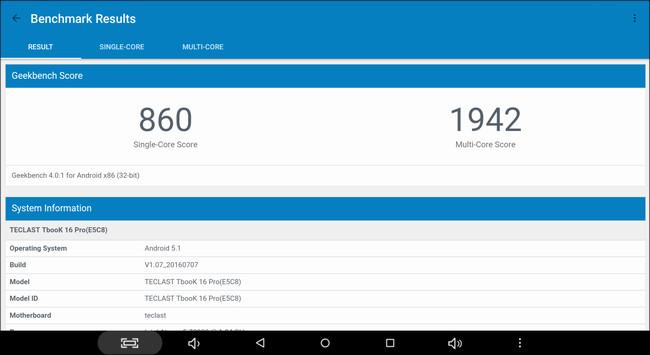 Teclast TBook 16 Pro Geekbench