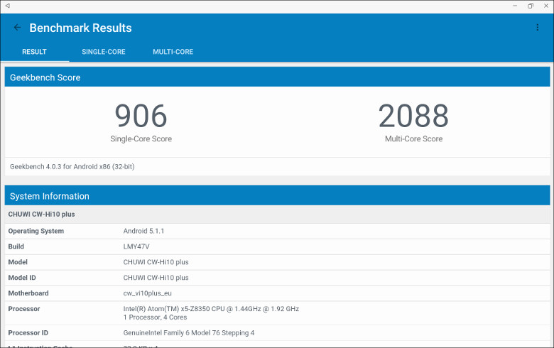 Chuwi Hi 10 Plus GeekBench 4