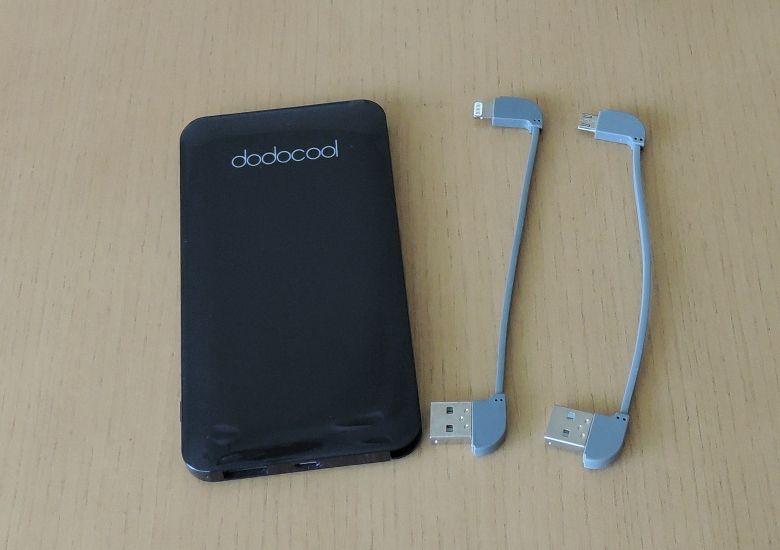 dodocool 極薄 5000mAh モバイルバッテリー 2本のケーブル