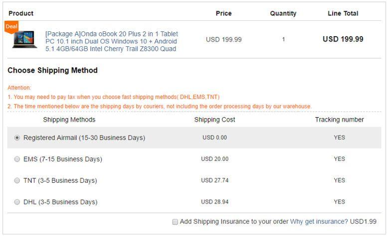 geekbuyingの配送品質 注文