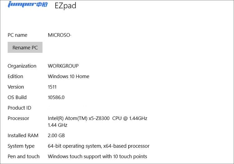 Jumper EZPad mini 3 システム構成