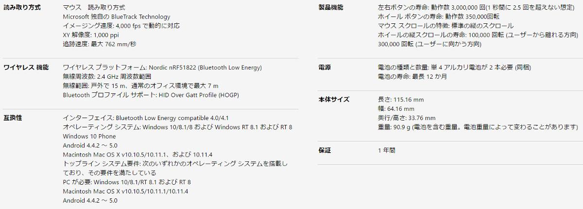 Microsoft Surfaceマウス スペック表