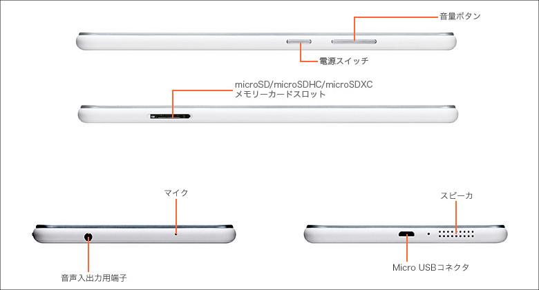 NEC LAVIE Tab E TE507 側面