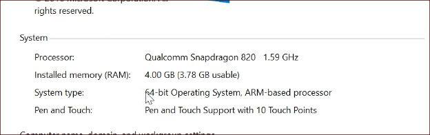 ARM版Windows 10のシステム情報