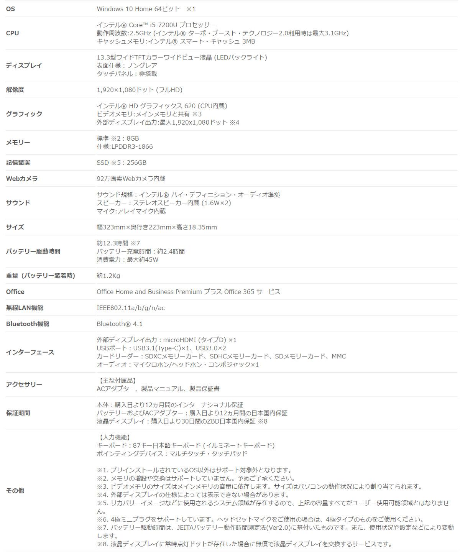 ASUS ZENBOOK UX330UA-7200S スペック表