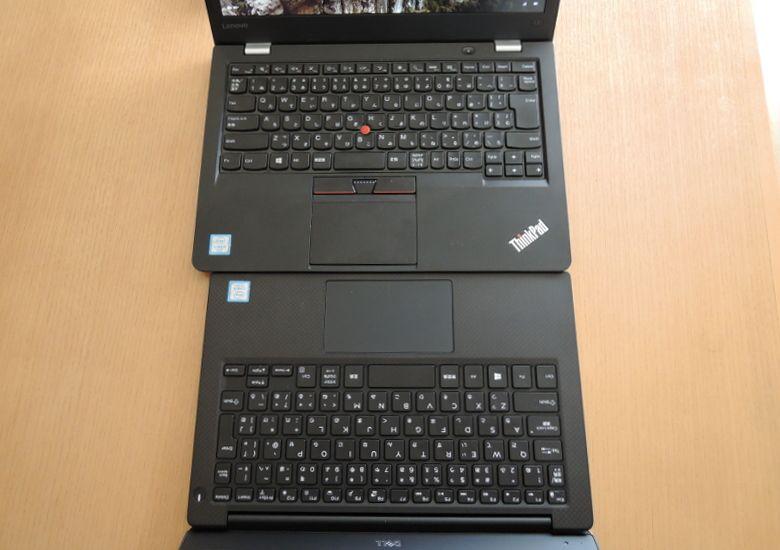 DELL XPS 13 ThinkPad 13と比較、キーボード2