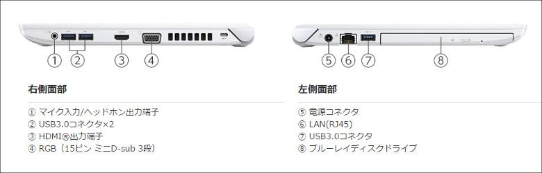 東芝 dynabook RX73/C ポート類