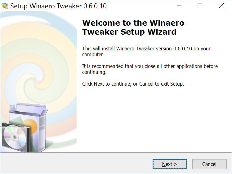 Winaero Tweaker インストール