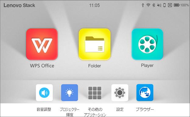 ThinkPad Stack モバイルプロジェクター ホーム画面