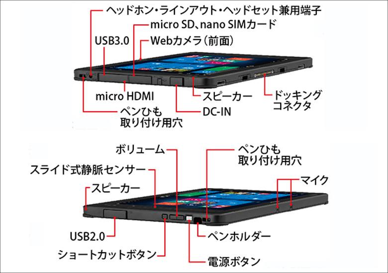 富士通 Arrows Tab Q507/P-SP 各部名称