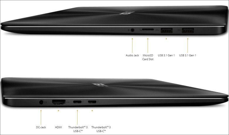 ASUS ZenBook Pro UX550VD/VE ポート類