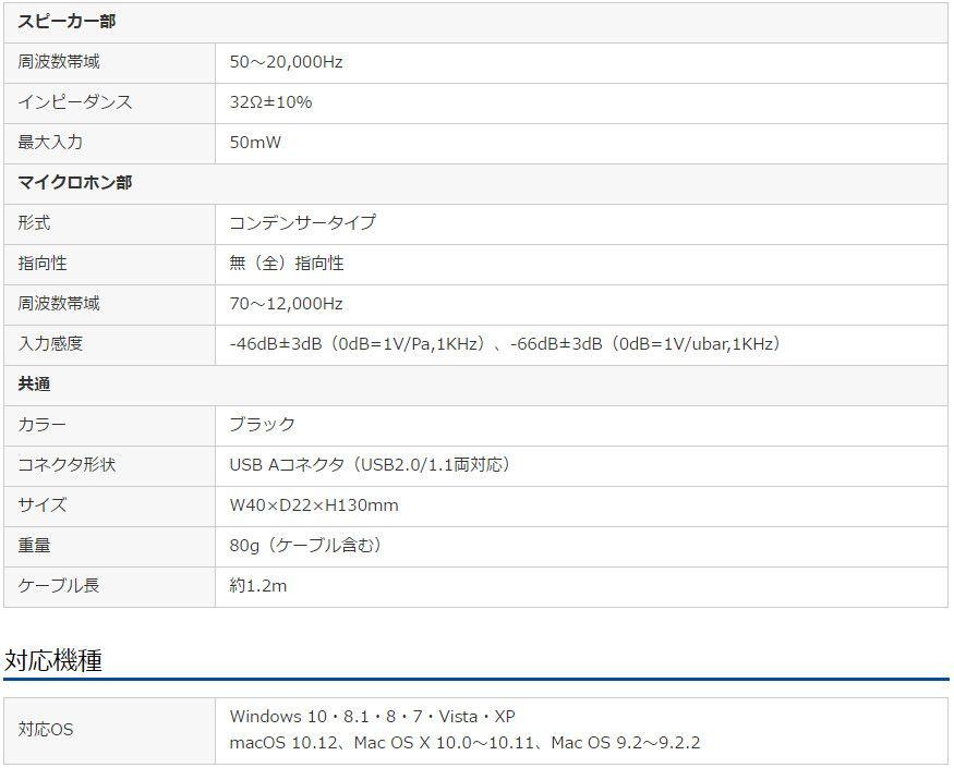 サンワサプライ  MM-HSU06BK スペック表
