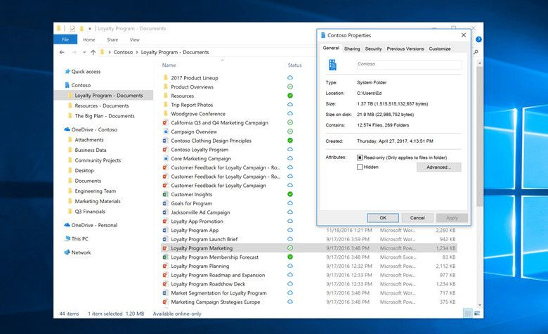Windows 10 Fall Creators Update OneDrive