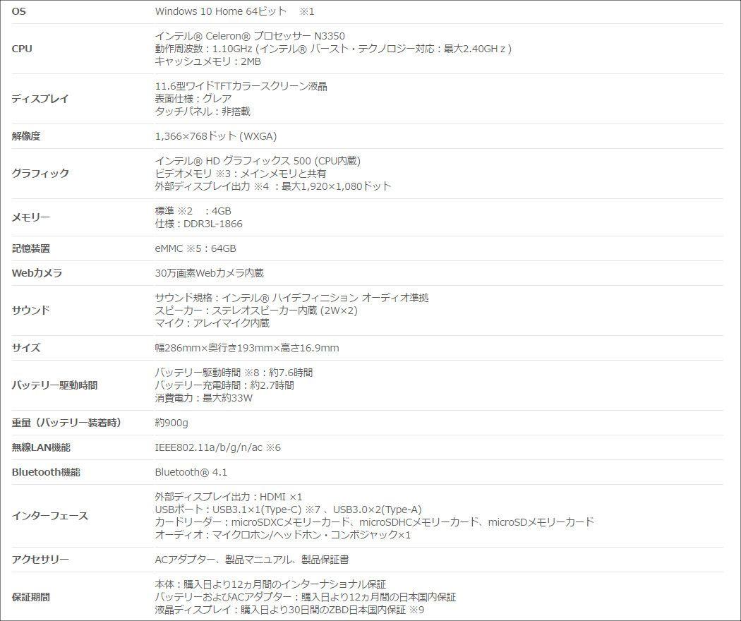 ASUS VivoBook E203NA スペック表