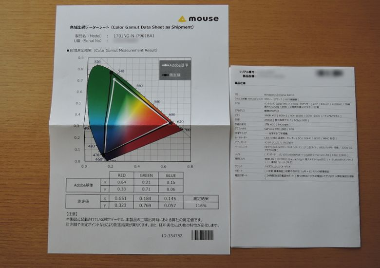 マウス NEXTGEAR-NOTE i7901 仕様書