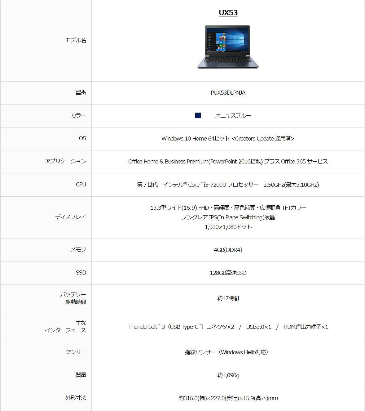 東芝 dynabook UX53 スペック表
