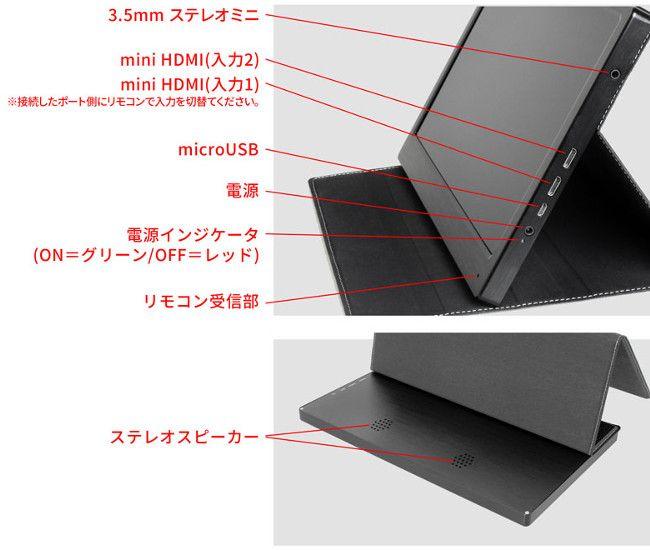 上海問屋 11.6インチ HDMIモニター 各部名称