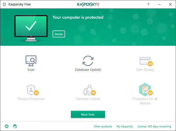Kaspersky Free ホーム画面