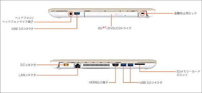 NEC LAVIE NS(B)側面