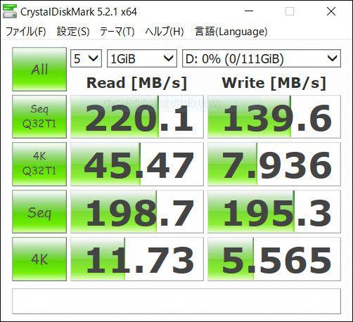 PCストレージの増設 Crystal DiskMark