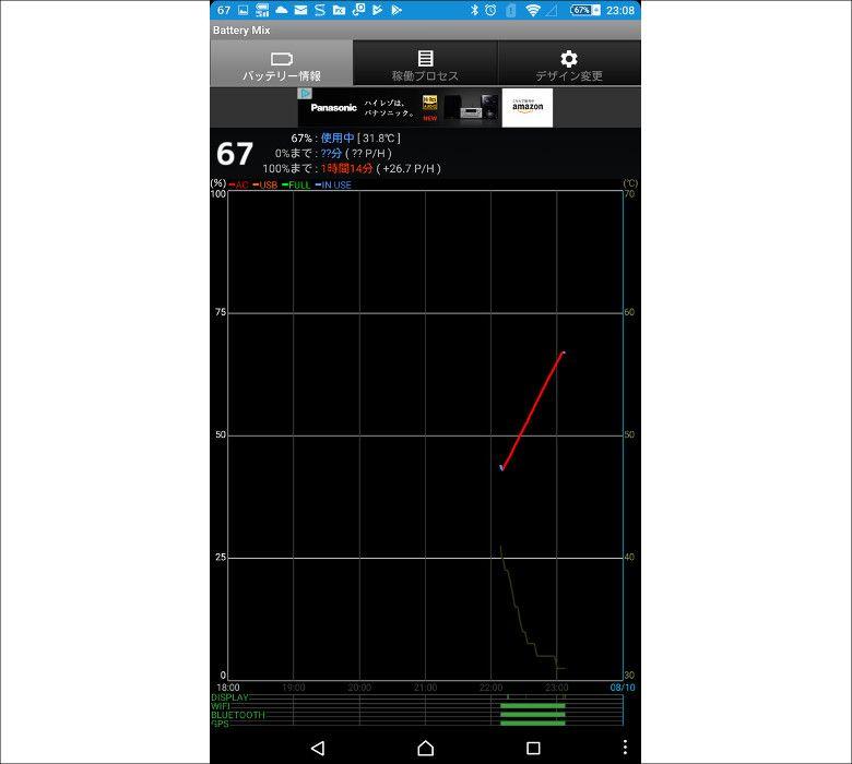DAISO モバイルバッテリー(ふんぼ)スマホでテスト