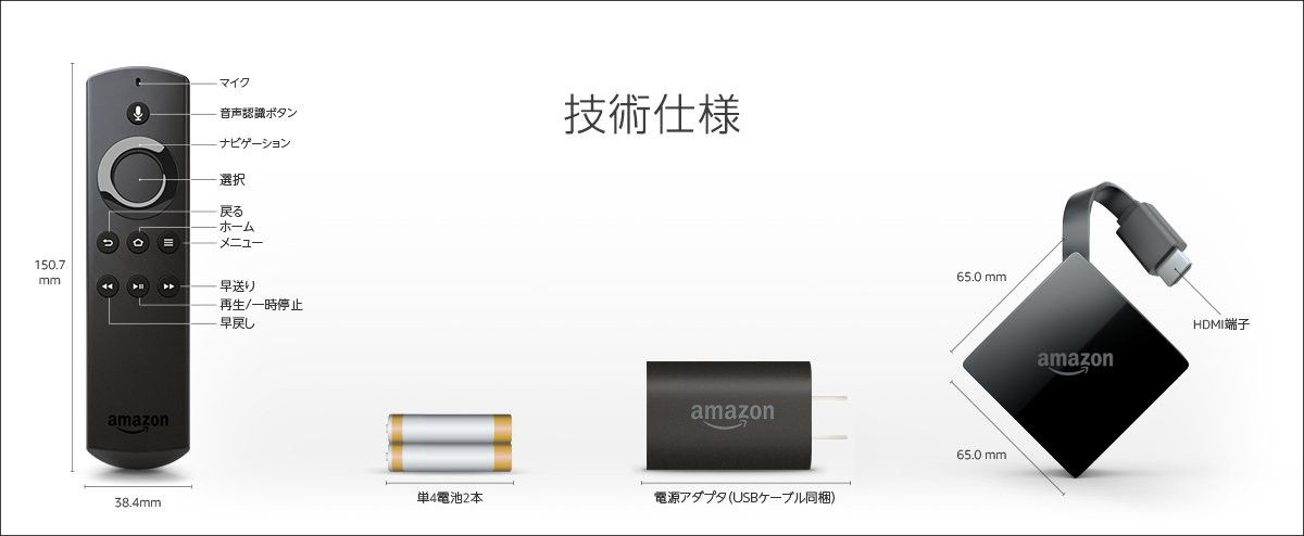 Amazon Fire TV サイズ等