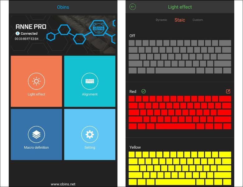 Anne Pro Bluetooth メカニカルキーボード 設定アプリ