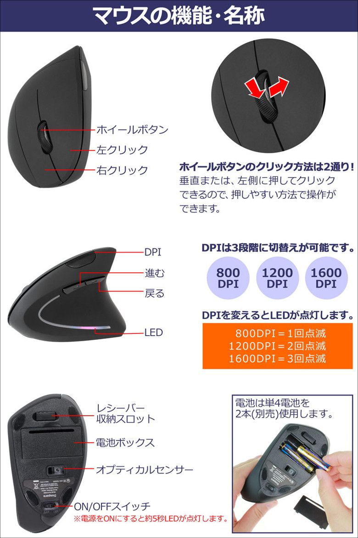上海問屋 スリム型 エルゴノミクスワイヤレスマウス