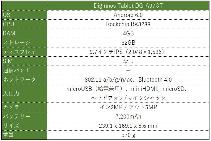 ドスパラ Diginnos Tablet DG-A97QT スペック表