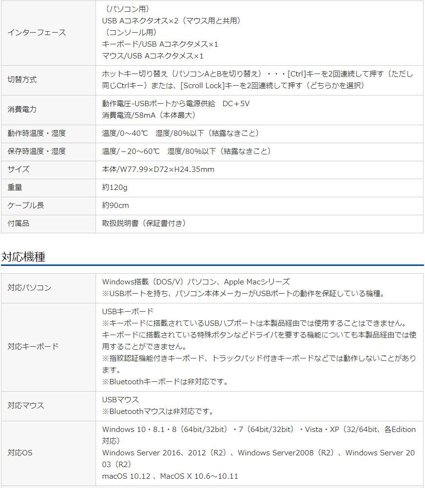 サンワサプライ キーボード・マウス用パソコン切替器 SW-KM2UU スペック表