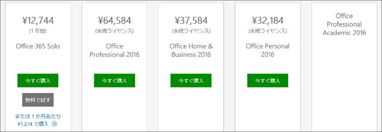 Office 365 Solo パッケージ版の種類