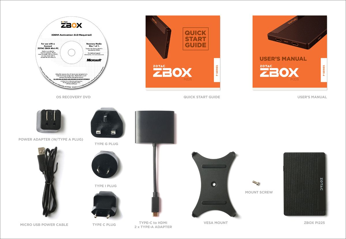 ZOTAC ZBOX PI225 同梱物