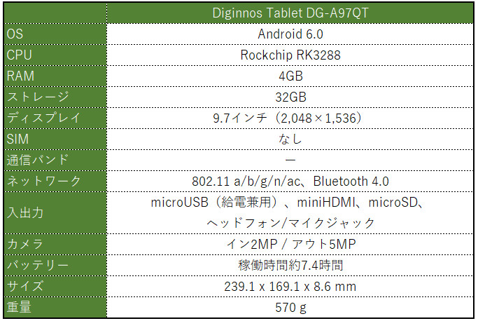 Diginnos Tablet DG-A97QT スペック表