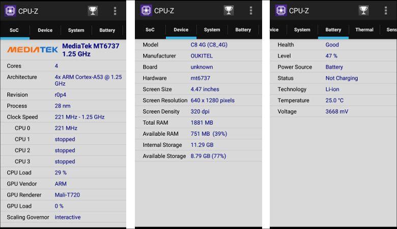 OUKITEL C8 4G CPU Z