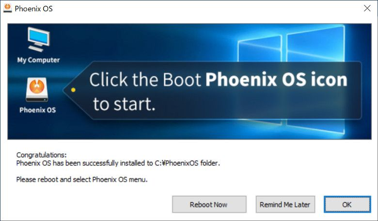 Phoenix OS インストール完了