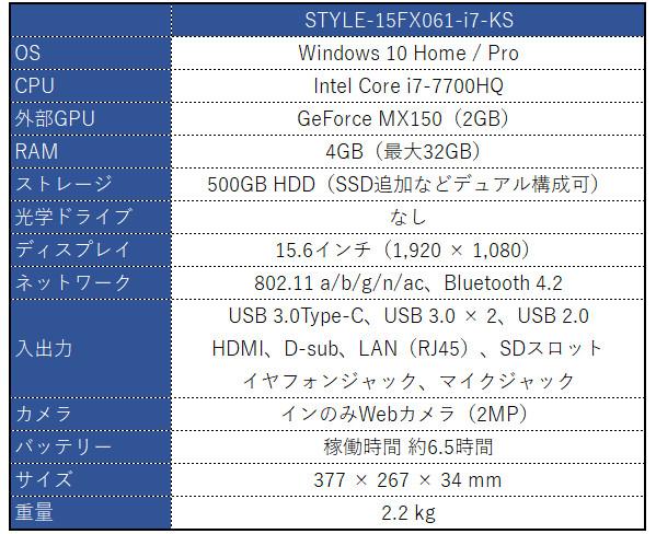 iiyama STYLE-15FX061-i7-KS スペック表