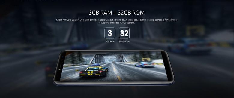 RAMは3GB、ストレージは32GB