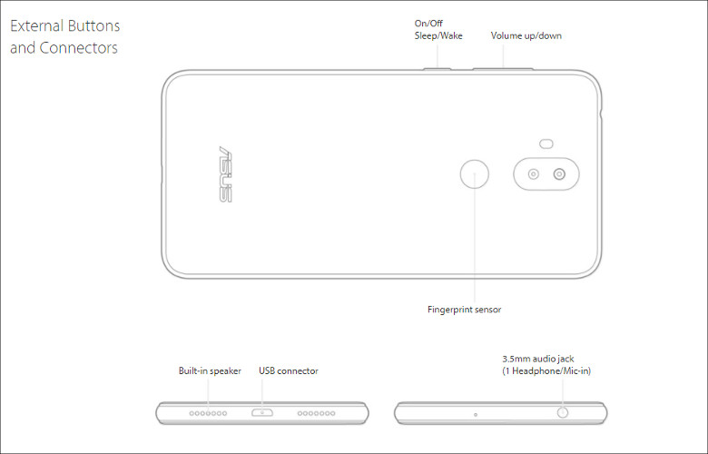 ASUS ZenFone 5 Lite 各部名称