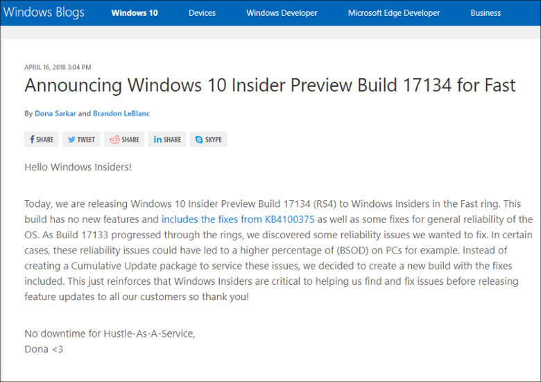 Windows 10 17134
