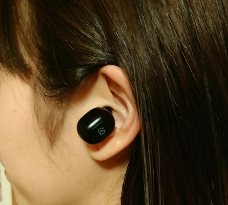 SoundPEATS Bluetooth 5.0 完全ワイヤレスイヤホン Q32 装着1