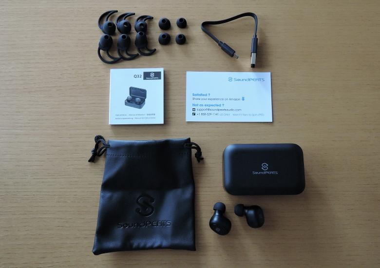 SoundPEATS Bluetooth 5.0 完全ワイヤレスイヤホン Q32 同梱物