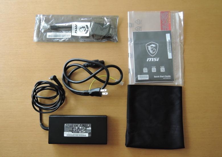 MSI GS65 Stealth Thin 同梱物