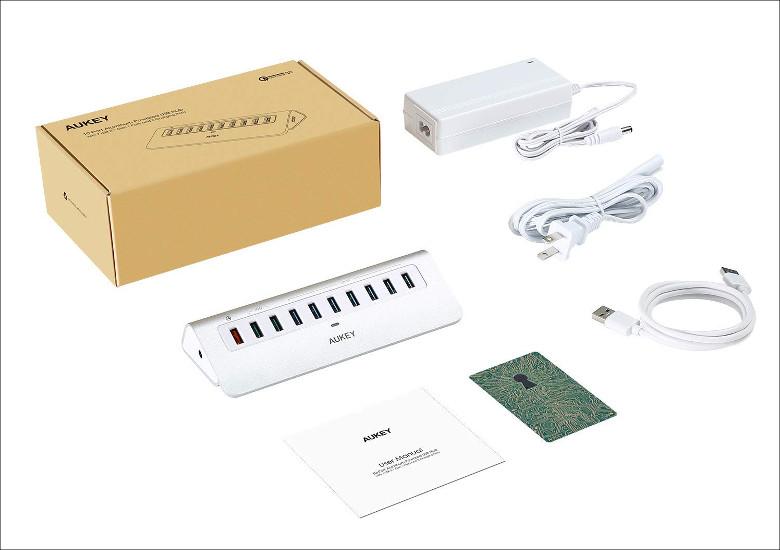 AUKEY セルフパワー 10ポート USB3.0 ハブ CB-H6S