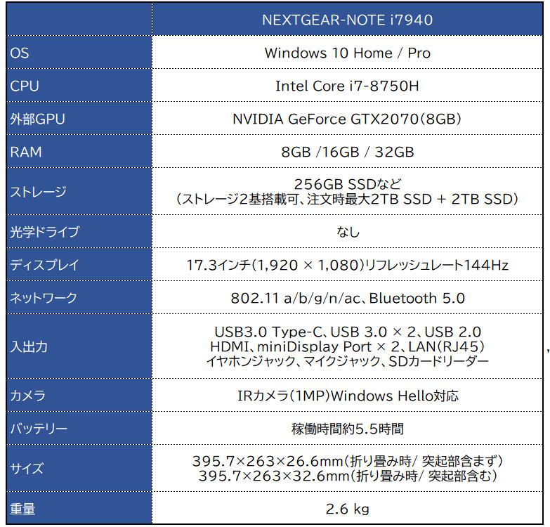 マウス G-Tune NEXTGEAR-NOTE i7940