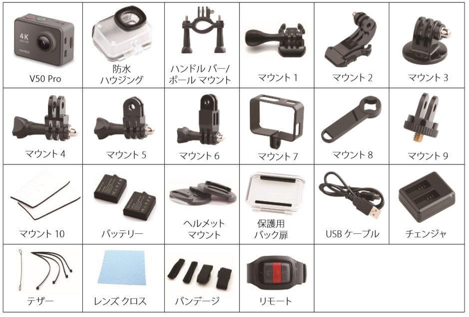 AKASO V50 Pro 同梱物説明