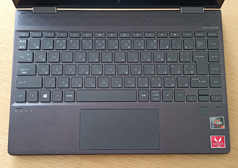 HP ENVY x360 13-ar0000 レビュー キーボード