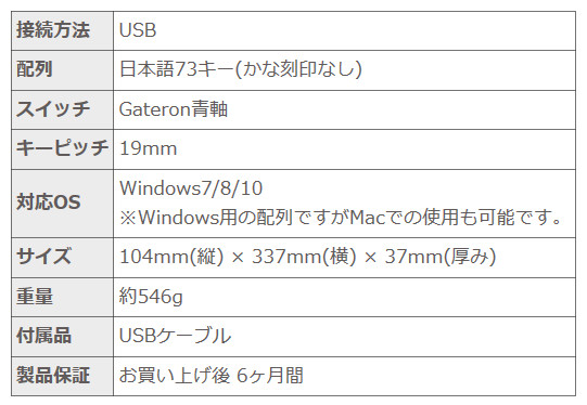 上海問屋  日本語73キー コンパクトメカニカルキーボード DN-915850