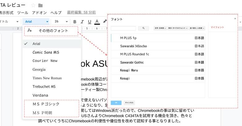ASUS C434TA Googleドキュメントフォント