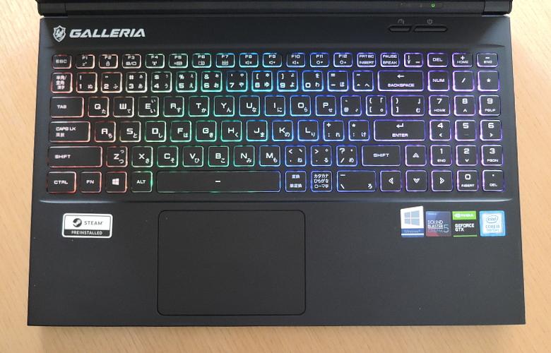 GALLERIA GCR1650GF キーボード